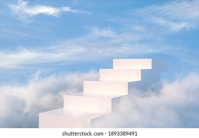 Natural beauty podium backdrop for product display with dreamy sky background. Romantic 3d scene.