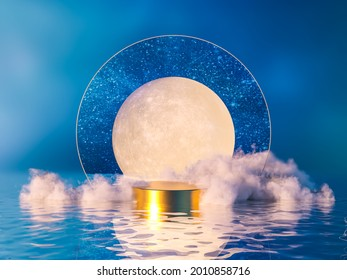 Natural beauty podium backdrop for product display with dreamy cloud and arch frame. 3d seascape Night scene.
