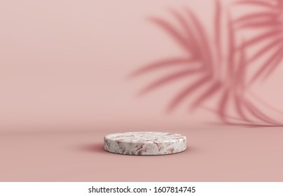 Natural beauty poduim backdrop with empty cube box for cosmetic product display. fashion beauty background with marble stone texture.3d rendering.