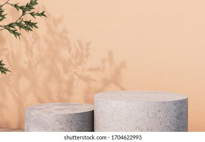 Natural beauty poduim backdrop with Stone texture and tree leaves shadow for cosmetic product display.  3d rendering.