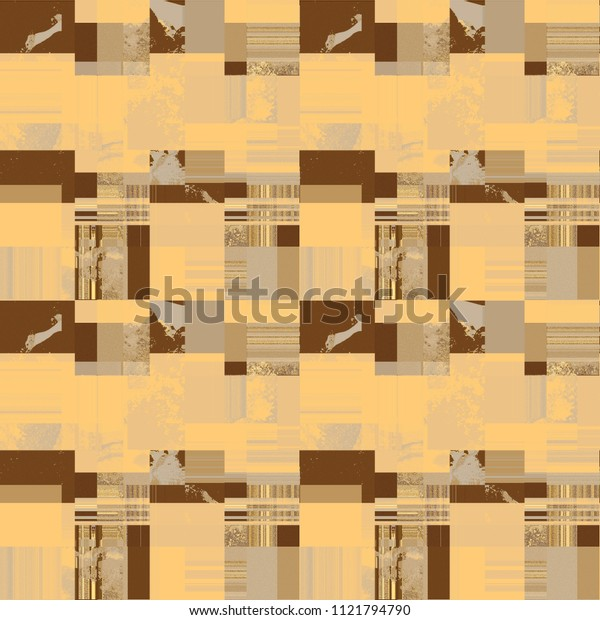 Natural color patchwork pattern. Blocks filled randomly with different designs. Watercolor marble textured tiles alternating with solid colored and striped ones. Fabric Textile Wallpaper