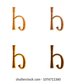 Natural color wooden letter H (lowercase) in a 3D illustration in four assorted colors with a realistic wood grain texture and fun curly font on white with clipping path