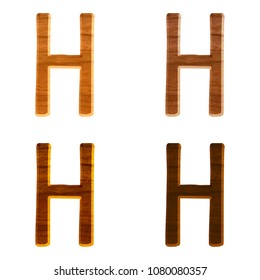 Natural color wooden letter H in a 3D illustration in four assorted colors with a realistic wood grain texture and rustic font on white with clipping path