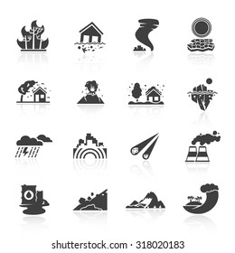 Natural disaster icons black set with tsunami snow storm thunder isolated  illustration