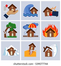 Natural disaster insurance, house insurance business service icons. Flood and fallen tree on roof illustration