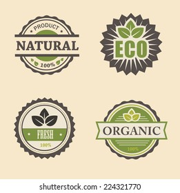 natural eco design elements set stamps commercial  in vintage style for business and design
