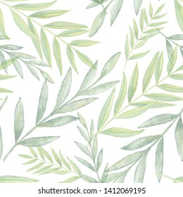 Natural eucalyptus leaves. Vintage foliage seamless pattern. Watercolor green olive branches. Clorful texture.  Hand drawn floral background. Elegant watercolor seamless pattern with bamboo leaves.