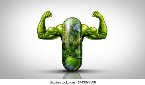 Natural food supplement Power concept as a giant pill or medicine capsule with fresh fruit and vegetables as a dietary symbol for good eating lifestyle with 3D illustration elements.