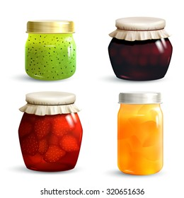 Natural fruit jam preserves jar set with realistic kiwi cherry strawberry and peach marmalade isolated  illustration