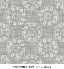 Natural  gray french woven linen texture background. Old ecru flax paisley motif seamless pattern. Organic yarn close up weave fabric for wallpaper. Rough greige block print cloth textured canvas