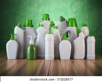 Natural green detergent bottles or containers. Cleaning supplies on green background. 3d illustration