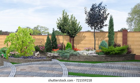 Natural grounds surrounding a home, 3d render