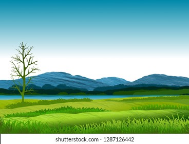Natural landscape with blue sky, mountains in background and green and flowery meadows. Illustration. Ideal for background, wallpaper or to integrate with personalized text and or message.