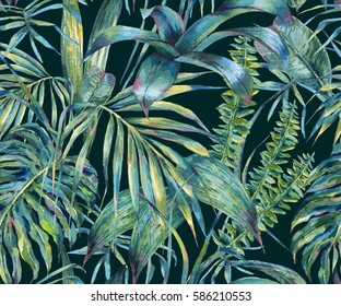 Natural leaves exotic watercolor seamless pattern, green tropical leaves, ferns, dense jungle, Hand painted botanical summer illustration on black background