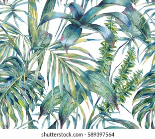 Natural leaves exotic watercolor seamless pattern, green tropical leaves, fern, dense jungle, Hand painted botanical summer illustration on white background