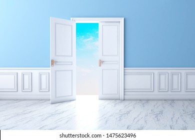 Natural light Door with Frame Isolated on Blue Background. 3D illustration, 3D rendering