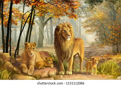 natural lion painting