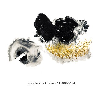 Natural luxury. Trendy BLACK spot, Art&Gold, acrylic paint, modern art, hand drawn painting, contemporary art. Magic unique painting. Fantasy abstract art. Mixed paints - black and gold metallic.