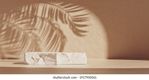 Natural minimal beauty stone podium backdrop for cosmetic product display with palm leaves shadow. Trendy minimalist 3D rendering illustration.