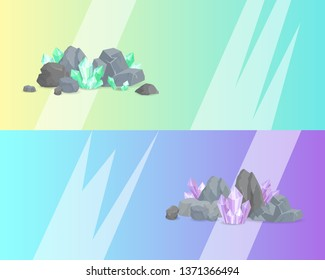 Natural resources crystals among rocks and stones raster illustration web posters set with minerals mineralogy landing pages text