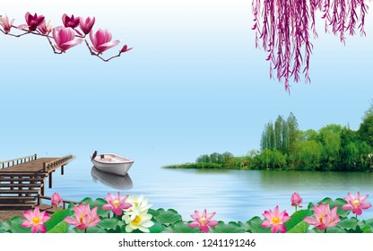 Natural scene of boat on lake and blue sky and green plants wallpaper