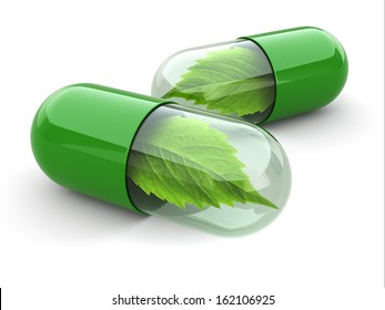 Natural vitamin pills. Alternative medicine. 3d