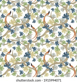 Natural wallpapers. Raster seamless pattern with fantasy birds, plants, trees, leaves, branches, flowers. Vintage floral texture. Abstract botanical ornament with hand painted elements. Ethnic motif