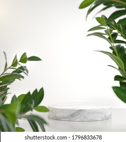 Natural White Platform Stage Blank For Show Product With Green Plants Blur Fore Ground 3d Render