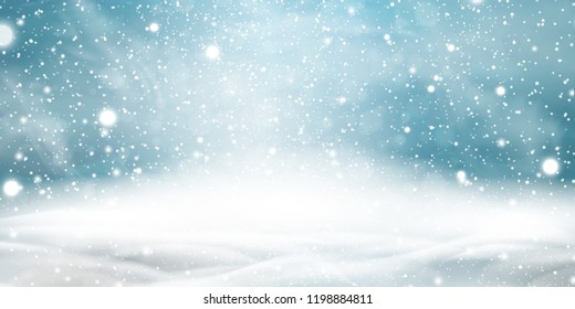 Natural Winter Christmas background with blue sky, heavy snowfall, snowflakes in different shapes and forms, snowdrifts. Winter landscape with falling christmas shining beautiful snow