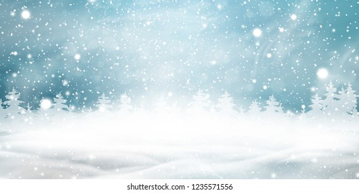 Natural Winter Christmas background with blue sky, heavy snowfall, snow, snowy coniferous forest, light garlands, snowdrifts. Holiday winter landscape for Merry Christmas. Christmas scene