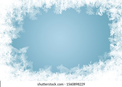 Naturally grown ice crystals as a frame for an advertising space in winter