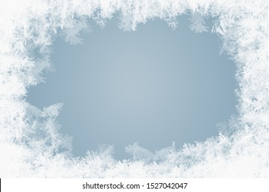 naturally grown ice crystals in winter on a window pane