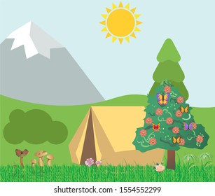 Nature artwork with lush greenery and clear blue sky background.