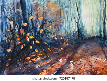 Nature background with autumn forest.Picture created with watercolors.