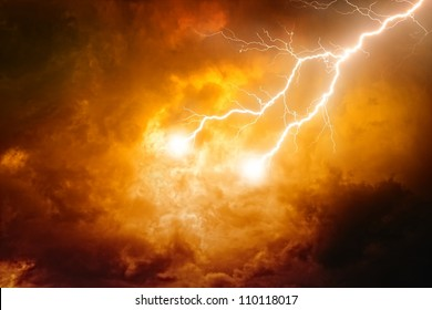 Nature background - lightnings in red sky