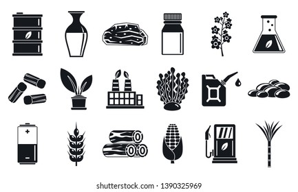 Nature bio fuel icons set. Simple set of nature bio fuel icons for web design on white background