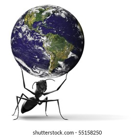 nature conservation global ecology safe fragile planet small ant lifting blue earth preservation sustainable management illustration Some components  courtesy of NASA, http://visibleearth.nasa.gov/