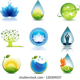Nature and health care symbols. Beautiful concepts on nature and health theme. Can be used as company symbols or other purposes. Bright and eye catching design.