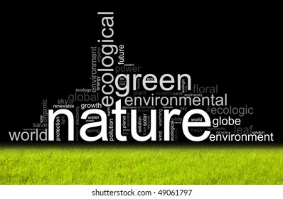Nature illustration with manz different terms like natur or world