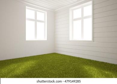 Nature Interior Design Concept Grass 3 D Stock Illustration ...