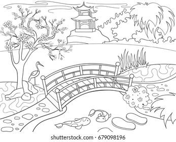 Nature Of Japan Coloring Book For Children Cartoon Japanese Garden Raster Illustration Zentangle Style
