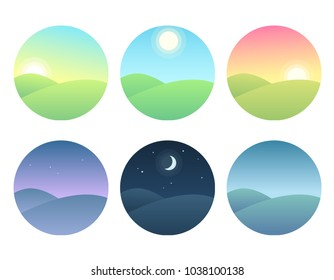 Nature landscape at different times of day. Soft gradients, simple and modern illustration set.