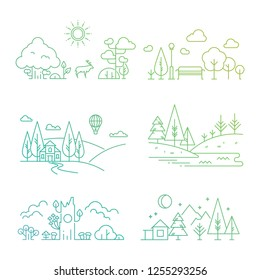 Nature landscape icons with tree, plants, mountains, river