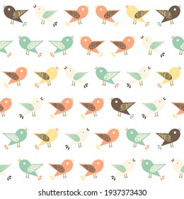 Nature pattern with assorted birds. Digital art.