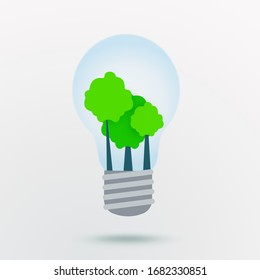 Nature protection concept. Green trees inside of light bulb on white background, illustration