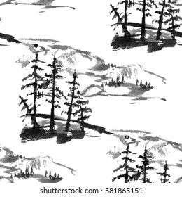 Nature seamless pattern in traditional oriental style. Landscape, valley, hills, mountains, trees, pine, spruce, house, ink.