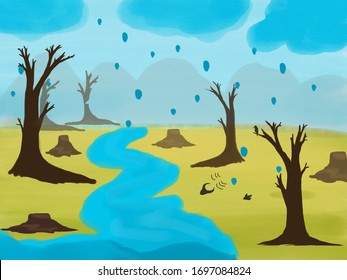 The nature that has been destroyed, trees that have been cut cause the flood conditions,(photo illustration.)