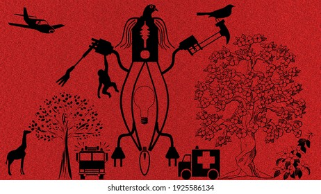 nature Versus technology. Effect of artificial things on nature. Machines harming the nature.