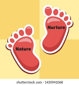Nature Vs Nurture Feet Means Theory Of Natural Intelligence Against Development Or Family Growth From Love- 3d Illustration