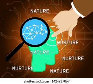 Nature Vs Nurture Words Means Theory Of Natural Intelligence Against Development Or Family Growth From Love- 3d Illustration